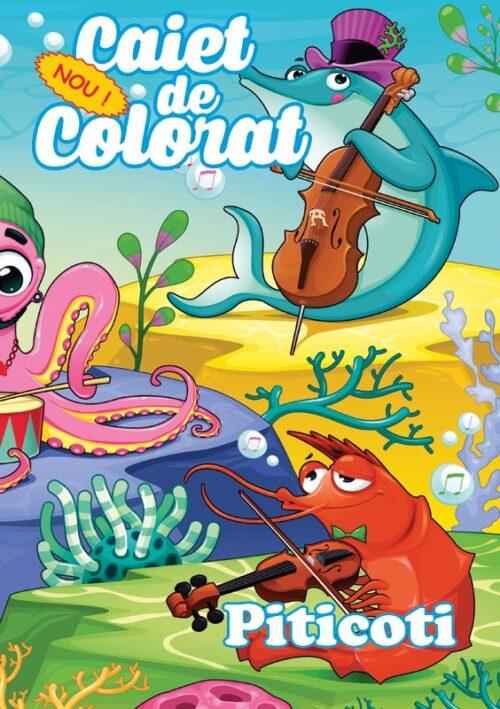 caiet colorat a4 piticoti