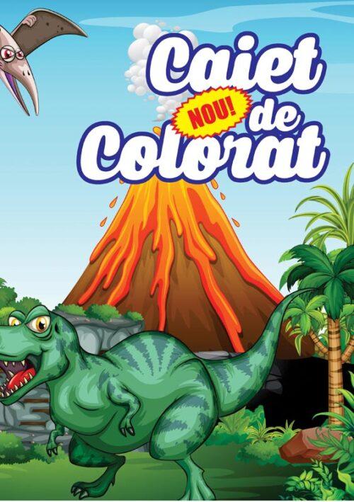 caiet colorat a4 dinozauri
